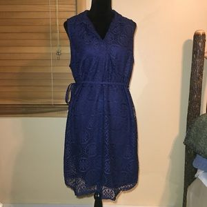 NWT! Navy Blue Lace Dress with Belt